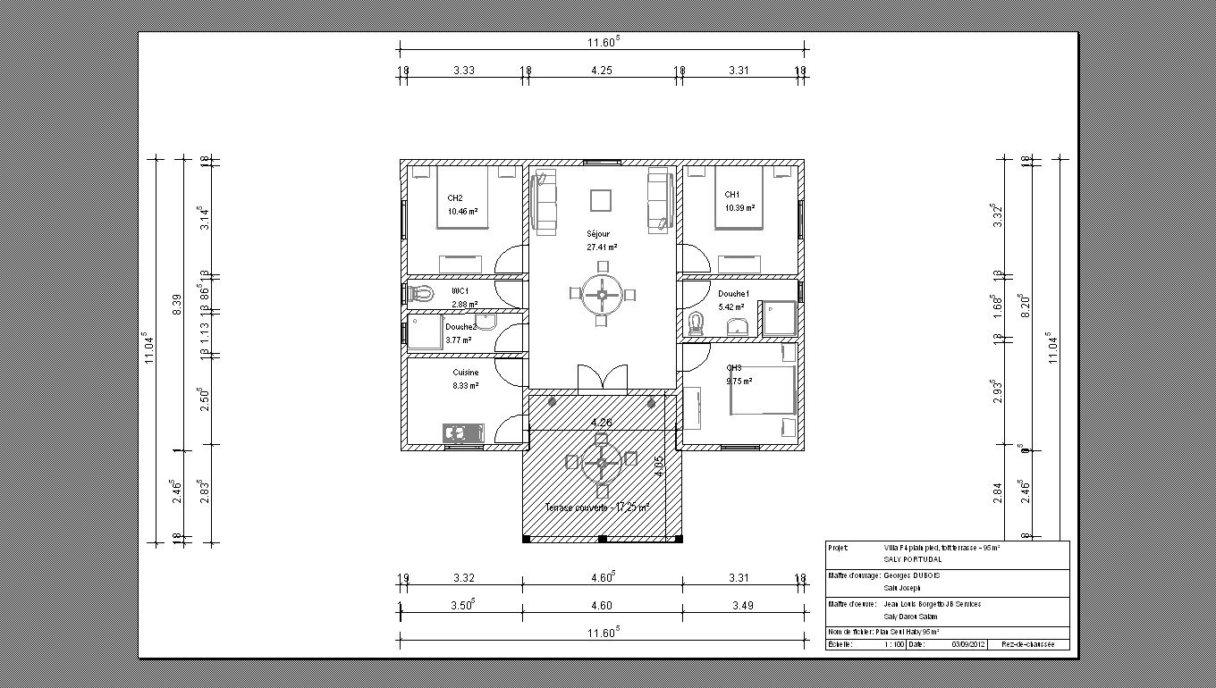 Architecture construction villa t4 neuve 90 m 38000 for Plan d architecture villa moderne