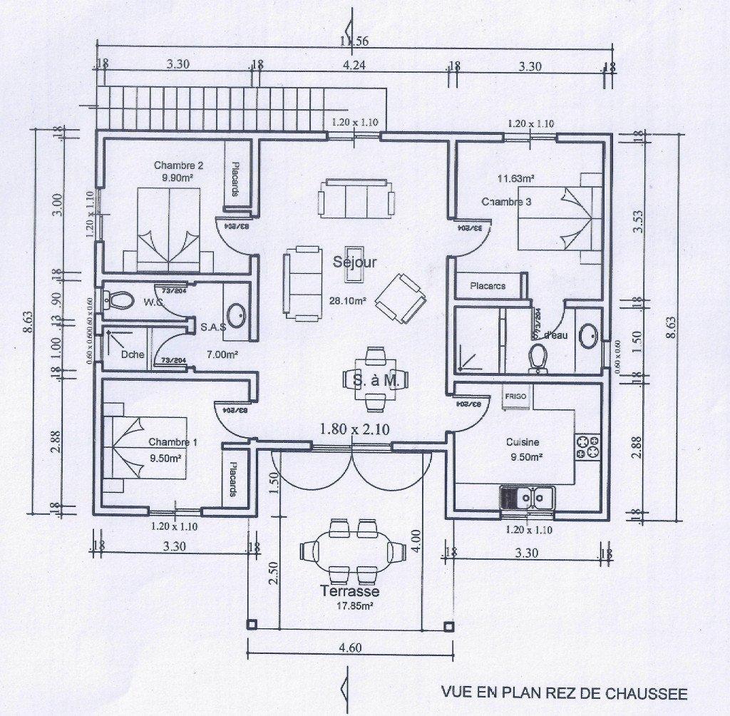 Plan villa F4 - 95 m² - 27 MF _41000 €