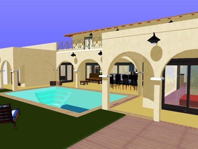 Plans et vues 3d architecture construction for Construction piscine 3d