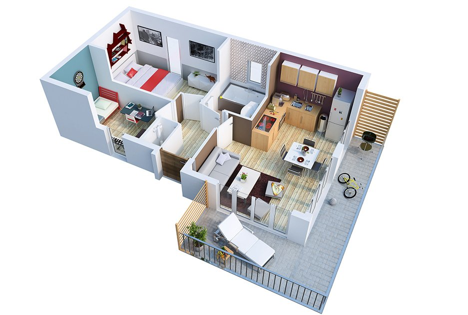 Plans et vues 3d architecture construction for Plan maison interieur 3d
